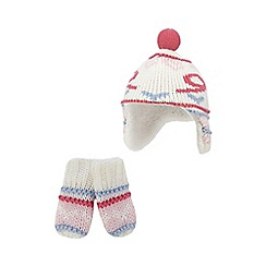 bluezoo - Baby girls' pink knitted trapper hat and mittens set