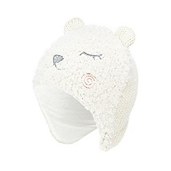 bluezoo - Baby girls' cream bear trapper hat
