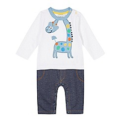 bluezoo - Babies white giraffe romper suit