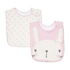 bluezoo - Pack of two babies pink bunny and spotted bibs