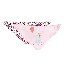 bluezoo - Pack of two babies pink floral and bunny applique dribble bibs