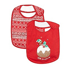 bluezoo - Pack of two red Christmas pudding bibs