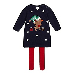 bluezoo - Babies' navy robin dress and tights set