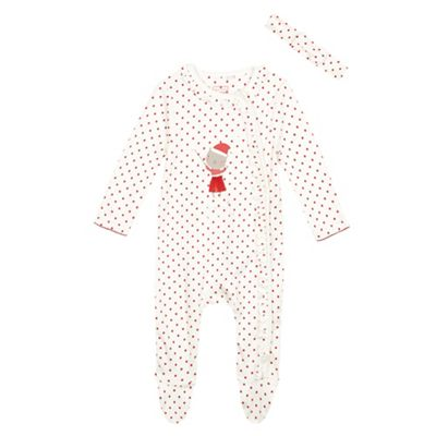 bluezoo Baby girls white My First Christmas sleepsuit