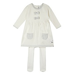 J by Jasper Conran - Designer babies cream knitted dress and tights set