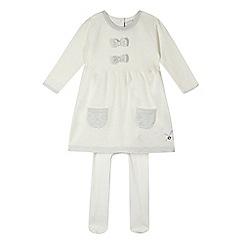 J by Jasper Conran - Designer babies cream knitted dress and tights set