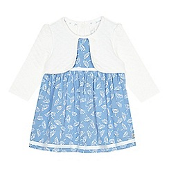 J by Jasper Conran - Designer babies blue floral print 2-in-1 dress