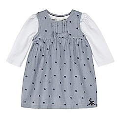 J by Jasper Conran - Designer babies navy spotted pinafore and bodysuit set