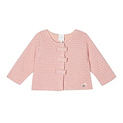 J by Jasper Conran - Designer babies pink textured bobble bow cardigan