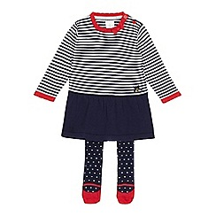 J by Jasper Conran - Designer babies navy striped knitted dress and tights set