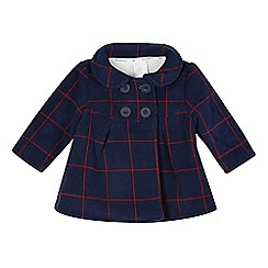 J by Jasper Conran - Designer babies navy checked fleece coat