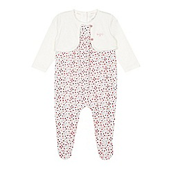J by Jasper Conran - Babies pink ditsy floral mockable sleepsuit