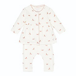 J by Jasper Conran - Babies cream cat print long sleeved top, leggings and jacket set