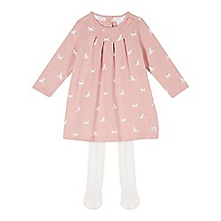 J by Jasper Conran - Designer babies pink cat printed dress and tights set
