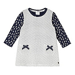 J by Jasper Conran - Designer babies cream spotty quilted pinafore and top set