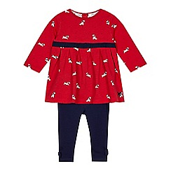 J by Jasper Conran - Babies red dog jersey dress and leggings set