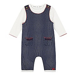 J by Jasper Conran - Babies navy spotted dungarees and top set