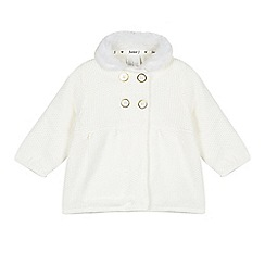 J by Jasper Conran - Baby girls' cream faux fur knit coat