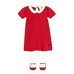 J by Jasper Conran - Baby girls' red knitted dress and tights set