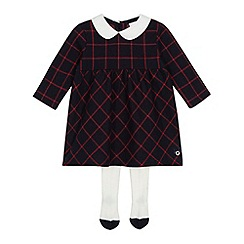 J by Jasper Conran - Baby girls' navy check Peter Pan collar dress and tights set