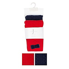 J by Jasper Conran - Pack of two babies red and navy cable knit tights