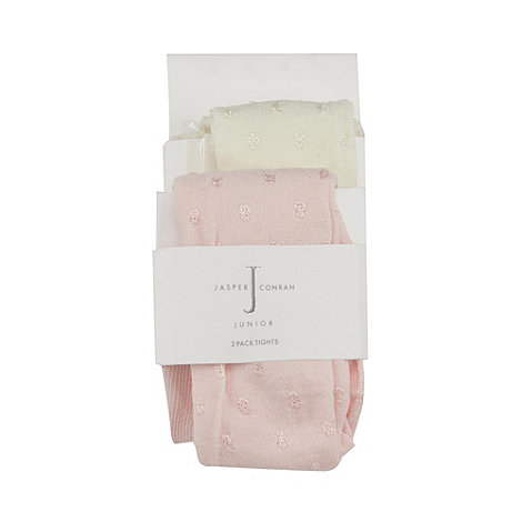 J by Jasper Conran - Designer pack of two babies pink and cream bobble tights