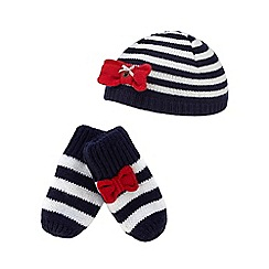 J by Jasper Conran - Baby girls' navy striped hat and mittens set