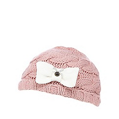 J by Jasper Conran - Baby girls' pink cable knit hat and mittens set