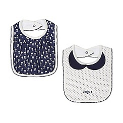 J by Jasper Conran - Pack of two babies navy floral and spotted bibs