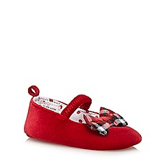 J by Jasper Conran - Red velvet tartan bow baby shoes