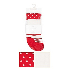 J by Jasper Conran - Pack of two designer babies red spot and ballet tights