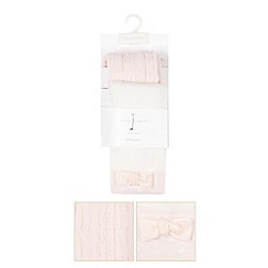J by Jasper Conran - Pack of two designer babies pink spotted and cable knit tights