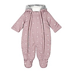RJR.John Rocha - Designer babies purple snowflake ear hooded snowsuit