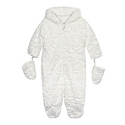 RJR.John Rocha - Baby girls' white faux fur all-in-one suit with mittens