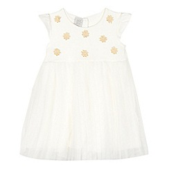 RJR.John Rocha - Baby girls' cream flower applique pleated net dress