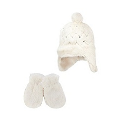 RJR.John Rocha - Baby girls' cream faux fur trapper hat and mittens set