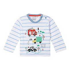 bluezoo - Baby boys' white striped transport scene top