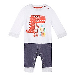 bluezoo - Baby boys' mock top and jeans dinosaur all in one