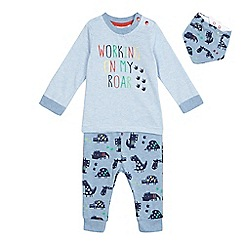 bluezoo - Baby boys' blue striped top, dinosaur joggers and bib set