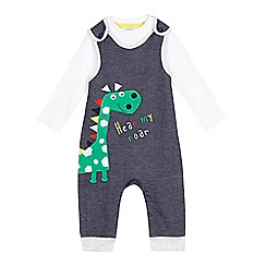 bluezoo - Baby boys' blue dinosaur dungaree and white bodysuit set