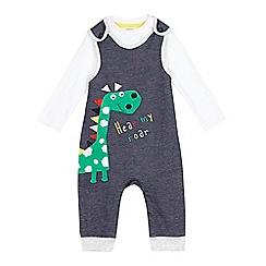 bluezoo - Baby boys' blue dinosaur dungaree and white bodysuit set