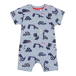 bluezoo - Blue dinosaur print romper and hat set