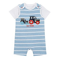 bluezoo - Baby boys' blue tractor applique dungarees and t-shirt