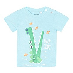 bluezoo - Baby boys' light blue crocodile print t-shirt