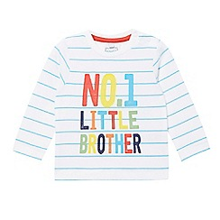 bluezoo - Baby boys' white striped print 'No.1 Brother' top