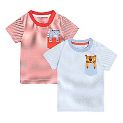 bluezoo - Baby boys' pack of two red animal applique t-shirts