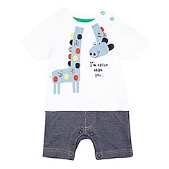bluezoo - Baby boys' white giraffe romper suit
