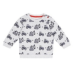 bluezoo - Baby boys' grey tractor sweater