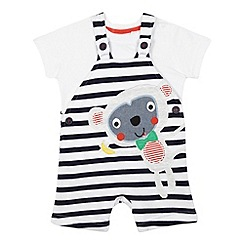 bluezoo - Baby boys' striped monkey dungarees and t-shirt set