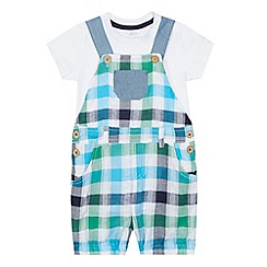bluezoo - Baby boys' green checked dungarees and bodysuit set